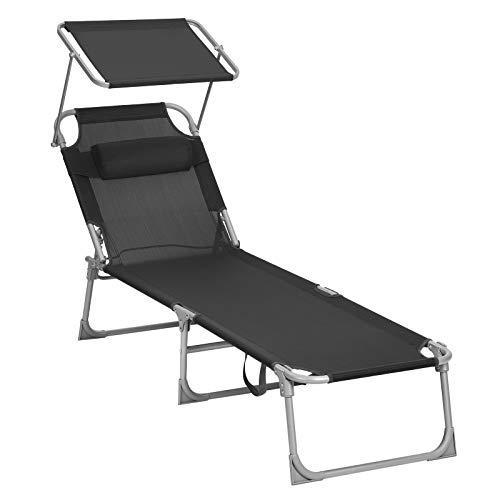 SONGMICS Sun Lounger, Sunbed, Reclining Sun Chair, with Headrest, Adjustable Backrest, Sunshade, Lightweight, Foldable, 53 x 193 x 29.5 cm, Load Capacity 150 kg, for Garden,Black GCB192B01