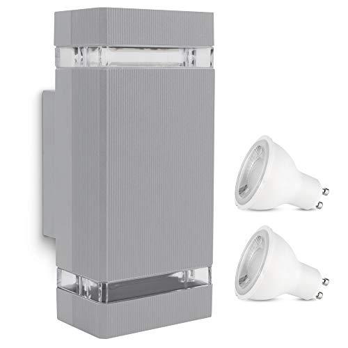SSC-LUXon SELA Wandleuchte Up & Down Aussen mit 2x LED GU10 3W warmweiß - Wandlampe IP54 Wandaussenleuchte in grau & eckig