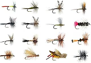 Feeder Creek Fly Fishing Lures Wet and Dry Assortment for Trout Fishing and Other Freshwater Fish - 16/32 / 48/64-16 Patterns of Adams, Mayflies, Attractors, Worm, Hopper and More