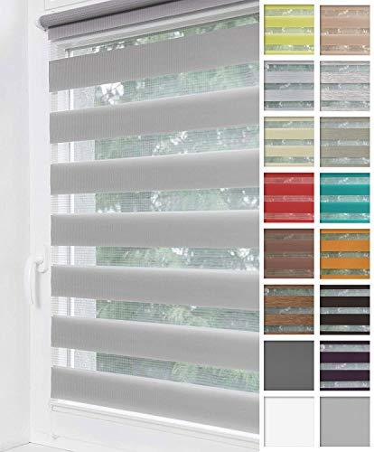 Home-Vision® Duo Rollo Klemmfix, Doppelrollo ohne Bohren mit Klämmträgern, Rollos für Fenster und Türen (Grau, B40cm x H150cm)