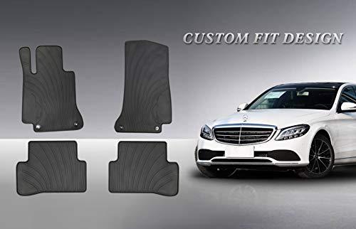 HD-Mart Auto Floor Mats Custom Fit for Mercedes-Benz C Class W205 S205 2015 2016 2017 2018 2019 2020 C200 C250 C300 C350 Rubber Full Black Auto Floor Matd All Weather Heavy Duty Odorless