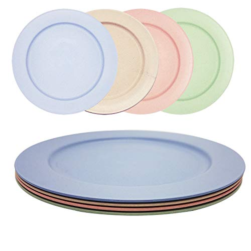10 Inch Wheat Straw Flat Plate, Dishwasher & Microwave Safe Dinner Plate, Eco-friendly Lightweight & Unbreakable Plate for Adult and Kids, Set of 4, Multi-color.