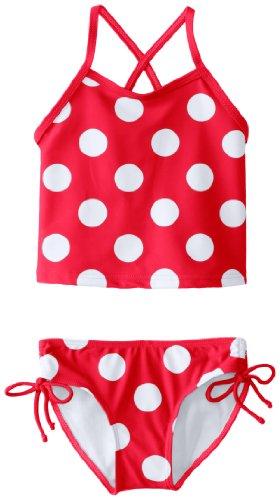 Kanu Surf Girls' Little Melanie Beach Sport 2-Pc Banded Tankini Swimsuit, Beachball Red Dot, 4