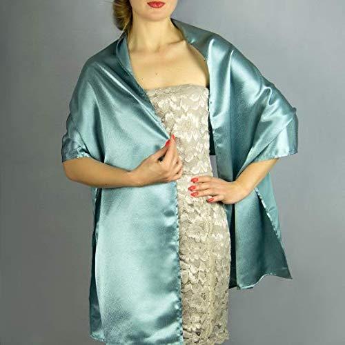 Chal saten color verde turquesa novia boda novia para vestido de fiesta