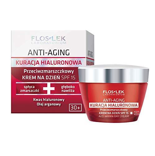 FLOSLEK Anti-Falten Tages-Creme LSF 15 mit Hyaluronsäure | 50 ml | Befeuchtet, Reduziert Falten | Hyaluron-Behandlung | für Menschen ab 30 Jahre mit Reife Haut