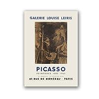 抽象ヴィンテージ絵画パブロピカソ展キャンバスポスターと版画美術館ギャラリー壁アート写真家の装飾-60x80cmx1フレームなし