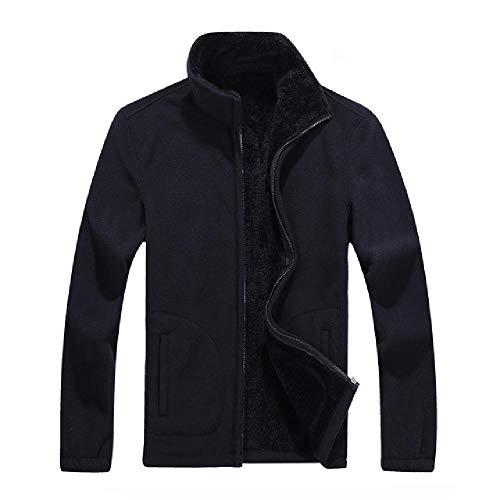 NHFGF Herren Fleece-Jacke, lässig, Herren, Sweatshirt, warm, Thermomantel, Herren, dünn, Fett, robust, dick Gr. 8X-Large, Schwarz