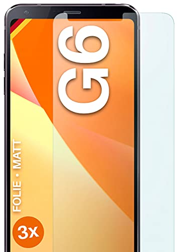 moex Schutzfolie matt kompatibel mit LG G6 - Folie gegen Reflexionen, Anti Reflex Bildschirmschutz, Matte Bildschirmfolie - 3X Stück
