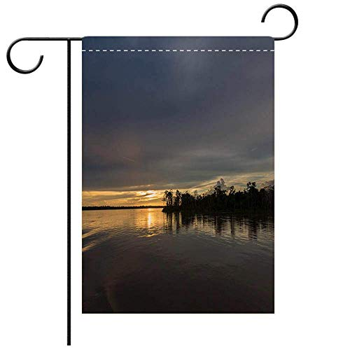 Dongingp Custom Personalized Garden Flag Outdoor Flag Colorful Sunset on The River Amazon in The Rainforest Brazil Best for Party Yard and Home Outdoor Decor