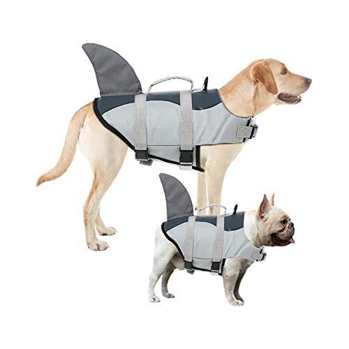 Chaleco salvavidas de flotación para perro, chaleco salvavidas ajustable, traje de baño para cachorros con asas para fácil rescate (tiburón, mediano)