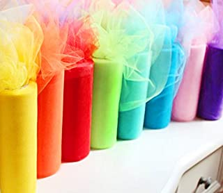 Charmed Rainbow Color Tulle Assortment, 6 inch by 25 Yard Spool (8 Pack)