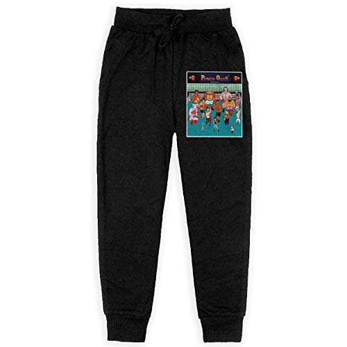 DAVIDLLOYD Boys Fashion Sweatpants Mike Tysons Punch Out Drawstring Elastic Waist with Pocket Running Casual Pants Black XL