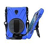 Galaxy Tab A 10.5 (2018) [T590 / T595 / T597] Case by KIQ Shockproof Heavy Duty Military Armor Hybrid Case Cover Kickstand for Samsung Galaxy Tab A 10.5 2018 SM-T590 (Shield Blue)