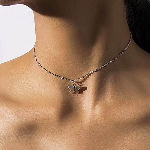 Jovono Collares Boho con colgante de mariposa de una sola capa para mujeres y niñas (dorado2)