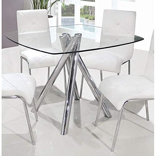 Best Master Furniture Square Glass Dining Table - Silver