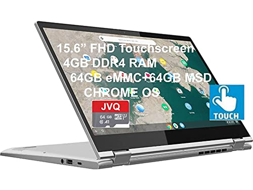 "2021 Newest Lenovo C340 15.6"" FHD Touchscreen 2-in-1 Chromebook Laptop, Intel i3-8130U(Up to 3.4GHz), 4GB RAM, 128GB Space(64GB eMMC+64GB Micro SD), USB-C, Wi-Fi, Bluetooth, Webcam, Chrome OS+JVQ MP"