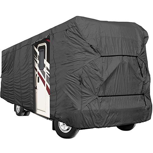 Waterproof Durable RV Motorhome Fifth Wheel Cover Covers Class A B C Fits Length 26'-30' New Travel Trailer Camper Zippered Panels Allow Access To The Door, Engine And Both Side Storage Areas
