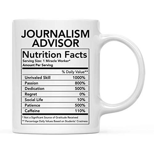Divertido 11oz. Taza de cerámica para té y café, regalo de agradecimiento, asesor de periodismo, información nutricional, paquete de 1, novedad, regalo de cumpleaños, Navidad, ideas para compañeros de