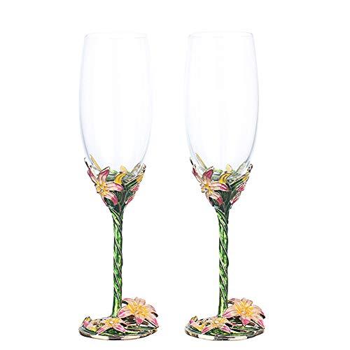 NAXIAOTIAO Lily a Mano Smalto Artigianale di Cristallo Vino Rosso Bicchieri Set di 2 a Un Grande Regalo con Luxury Gift Box Included220ml