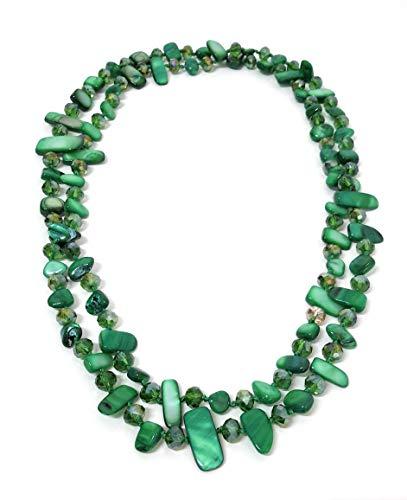 BRANDELIA Collares Largos de Colores Mujer Bisutería de Nácar y Perlas de Cristal, Verde Bosque