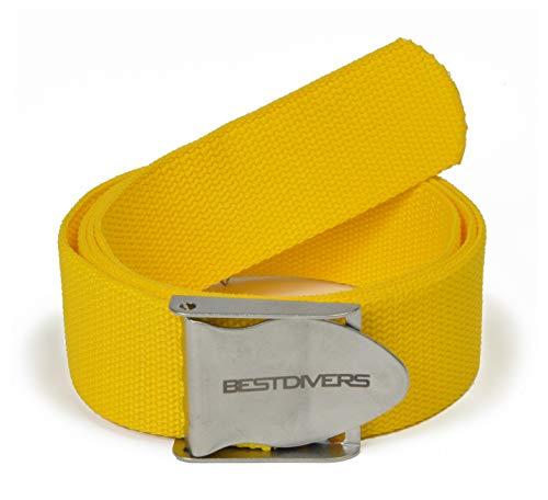 Best divers ZI0130I - Cinturón para plomos Sub, Hebilla de Acero Inoxidable, Color Amarillo