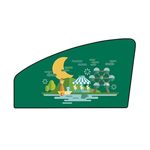 WEQQ 1 Pieza magnética para Ventana Lateral de Coche, Cortinas para Parasol, Ventana, Parasol, Cubierta para persianas (Asiento de Pasajero con Frente Verde)