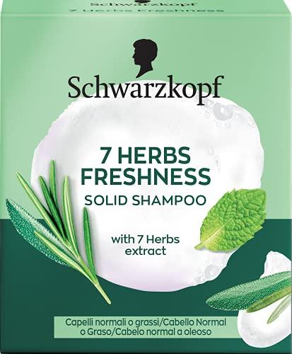 Schwarzkopf - Champú Sólido 7 Herb Freshness - 60g - Para cabello normal o graso - Proporciona un ligero frescor y un suave cuidado para tu cabello sin cargarlo