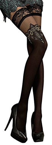 Unbekannt Ballerina Halterlose Damen-Strümpfe, schwarz, Stockings, Spitze, Strapsoptik Größe Small/Medium