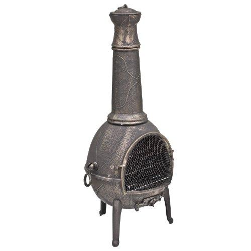 La Hacienda Sierra - Chiminea - Outdoor Garden Heater with Grill - Bronze, Jumbo