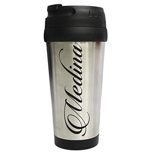 Personalized Travel Tumbler Coffee Mug - Engraved Custom Monogrammed - 16 oz (Silver)