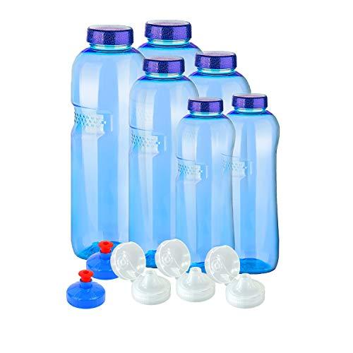 6 x Original Flaschen aus TRITAN ohne Weichmacher Sparset 2 x 1 Liter (rund), 2x 0,75 Liter (rund), 2x0,5 Liter (rund) + 5 Standarddeckel + 3 Sportdeckel (FlipTop) + 2 Trinkdeckel (Push PULL) BPA frei
