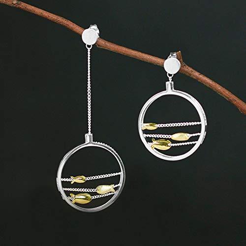 Cestbon S925 Sterling Silber Ohrringe Lieblich Schwimmen Glücklicher Fisch Tropfen Ohrringe Für Frauen Mädchen, Natürlicher Kreativ Handgemachter Einzigartiger,Silber