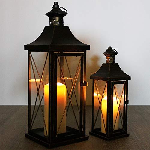Multistore 2002 2tlg. Laternen-Set H34/50cm, Schwarz/Gold, Laterne Gartenlaterne Kerzenhalter Gartenbeleuchtung Windlicht - 5