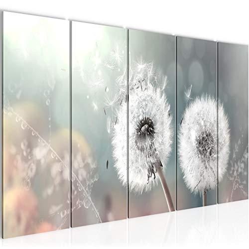 Runa Art Väggmålning XXL Maskros 200 x 80 cm Turkos Grå 5 Delar - Made in Germany - 023655b