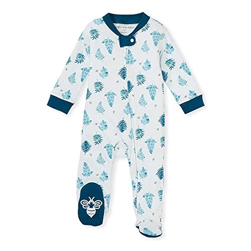 Burt's Bees Baby Pijama para bebé y niño, 100% algodón orgánico de una Sola Pieza, Mono con Cremallera Frontal, Helecho Frenesí, 3 Meses