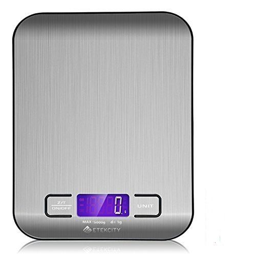 Etekcity 11lb/5kg Digital Multifunction Stainless Steel Kitchen Food Scale (Renewed)