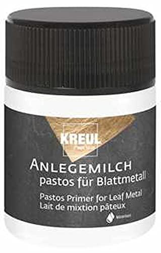 Kreul 99452 - Anlegemilch pastos, 50 ml, dickflüssiger Spezialkleber zum Anlegen von Blattmetall, zum Schablonieren, für Abklebetechnik, für Effekte & zur Anwendung auf Glas