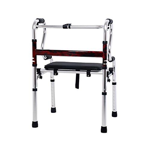 Leichte 3,6 kg Faltbare Rollator Walker Aid 4 Beine Gehstock Einstellbare Höhe Steh Toilettenrahmen für Erwachsene Senioren Behinderte | mit Ledersitz | Aluminiumlegierung | Max Last 180 kg