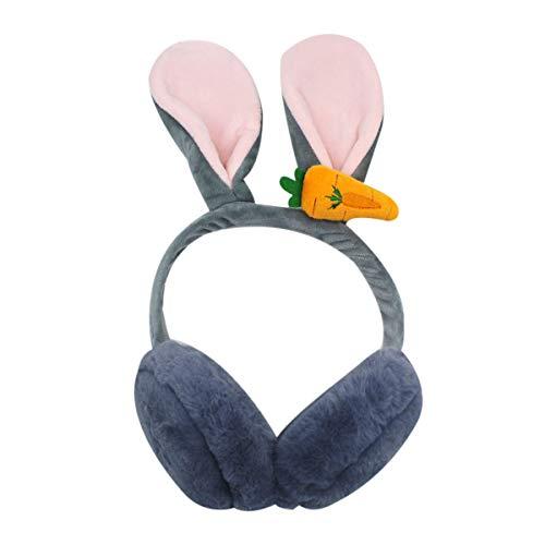 Orejeras plegables con diseño de conejo, para invierno, térmicas para niños y niñas, Gris, Talla única