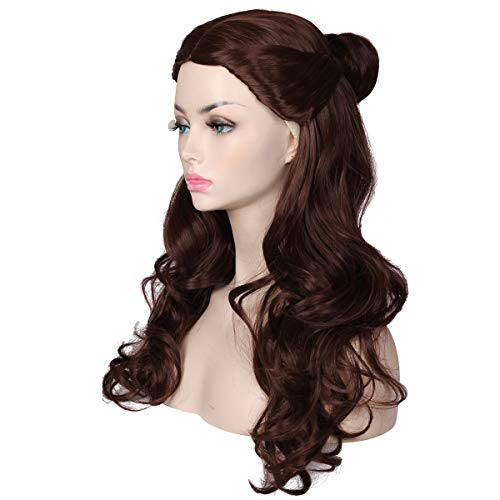 ColorGround Women's Long Wavy Brown Prestyled Cosplay Costume Wig with Detachable Bun