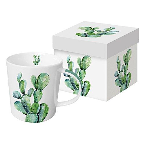 PPD Cactus Trend Kaffeebecher, Kaffeetasse, Tasse, Kaffee Becher, New Bone China, Weiß / Grün, 350 ml, 603278