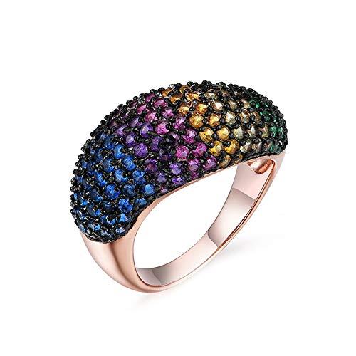 KnBoB Ringe 925 Silber Damen Runden Zirkonia Mehrfarbig Ring Gr. 54 (17.2)