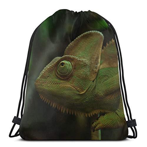 Mochila de camuflaje verde de camaleón, unisex, con cordón, bolsa de cincha de poliéster, impermeable, para deporte, gimnasio, mochila informal para mujer