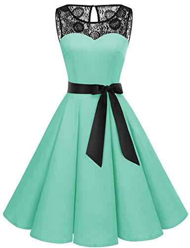 Bbonlinedress Abendkleider elegant für Hochzeit Damen Knielang cocktailkleid Damen Abendkleider lang Spitzenkleid Damen Petticoat Badeanzug Rockabilly Mint XS