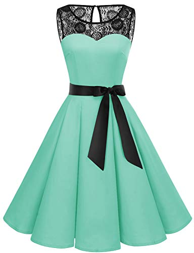 Bbonlinedress Abendkleider elegant für Hochzeit Damen Knielang cocktailkleid Damen Abendkleider lang Spitzenkleid Damen Petticoat Badeanzug Rockabilly Mint M
