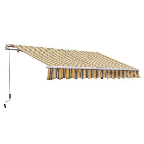 Outsunny Markise Gelenkarmmarkise Sonnenschutz Handkurbel Balkon Alu Gelb+Grau 3,5x2,5m