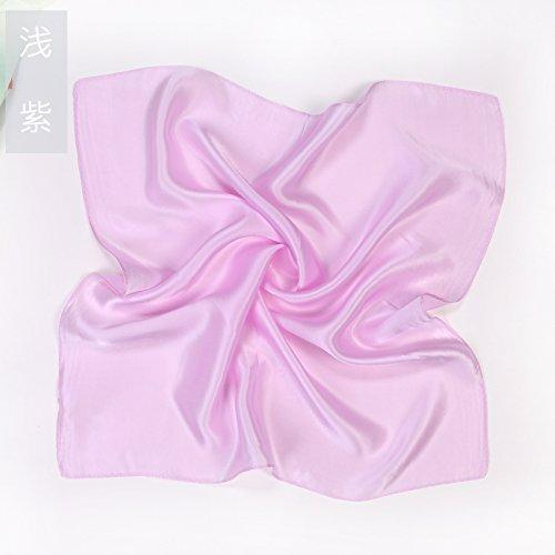 YRXDD Pure Couleur Petite Femme carrée 100% Soie Soie Foulard Sauvage (53 * 53cm), Violet Clair