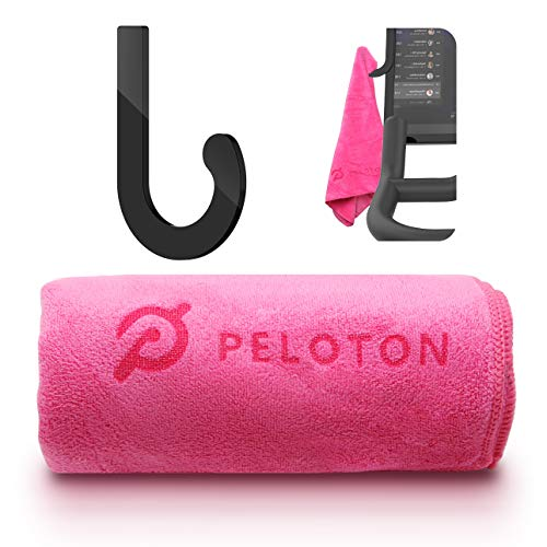 Towel Rack Hanger Hook + Microfiber Sport Towel Set for Peloton Bike (Pink)