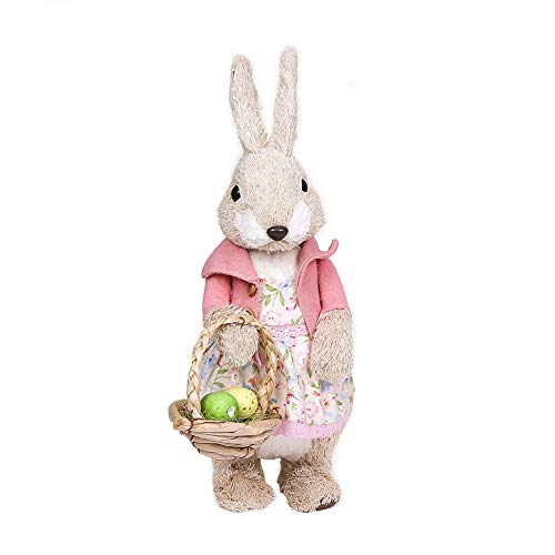 Demiawaking Decorazioni Pasquali Coniglio in Paglia Coniglietto Pasquale Ornamenti Figurine Artigianali Decorazioni Pasquali per la Casa Giardino, la Tavola, Regalo Altezza 24.5 cm (Stile 4)