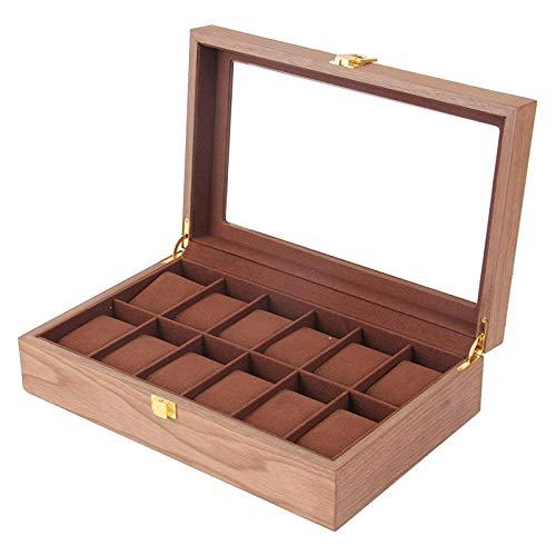XXCHUIJU 12 Slot Holzglas Top Uhrenbox Fall Organizer Display für Männer Frauen